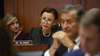 Rep. Nydia Velazquez sitting down during a congressional hearing