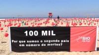 Icónica playa de Copacabana amanece llena de cruces por las muertes por COVID-19