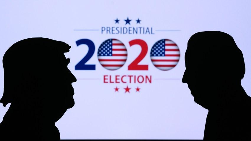 Collage de banco de imágenes con siluetas de Trump y Biden enfrentados por la presidencia en las elecciones de 2020.