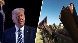 Foto de expresidente Trump y una sección del muro fronterizo.