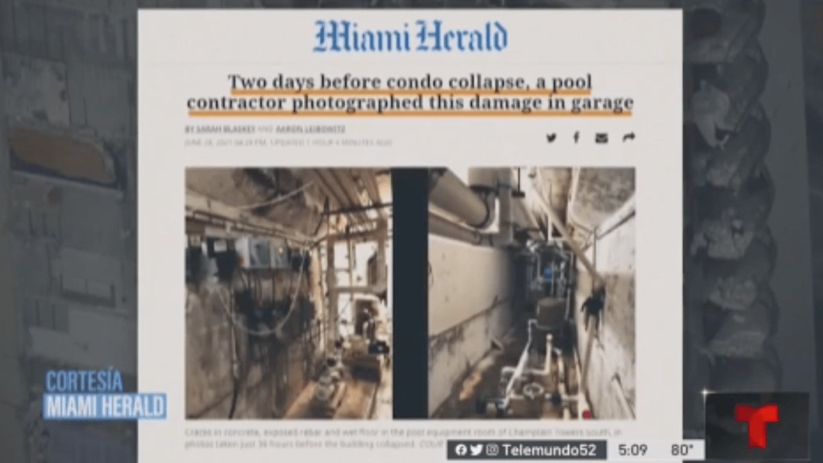 36 Hours before collapse, contractor showed apparent damage to Miami Beach building