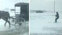 Una mujer que viajaba por Minnesota se sorprendió al ver al hombre haciendo piruetas en la nieve.