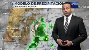 La ciudad de Denver estará bastante nublada. Sectores al sur y hacia el este verán lluvias en ocasiones moderadas.