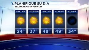 Hoy sábado esperamos tiempo mayormente despejado y con temperaturas que superarán los 50 grados en muchas localidades. En las montañas estará ventoso y con leve probabilidad de nieve. Los mantendré informados.