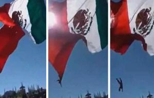 Soldado se enreda en bandera y cae desde 22 pies