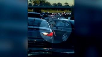 En video: caótico ataque de furia con un bate en autopista