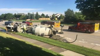 Derrame de cemento por camión volcado