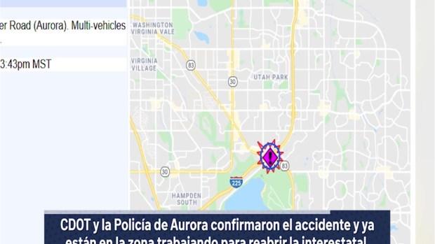 [TLMD - Denver] Cierran múltiples carriles de la I-225 por accidente de varios vehículos