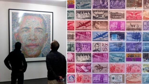17 retratos de famosos hechos con sellos postales
