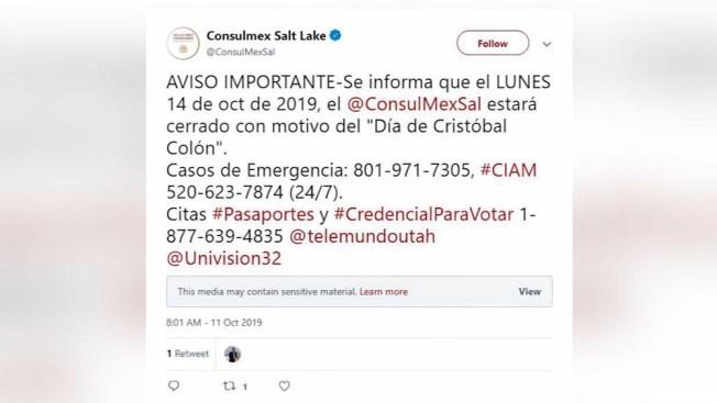 Consulado de México en Salt Lake City cerrará por día festivo