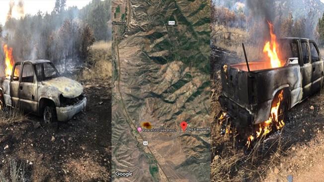 Vehículo en llamas provoca incendio forestal en Dry Canyon