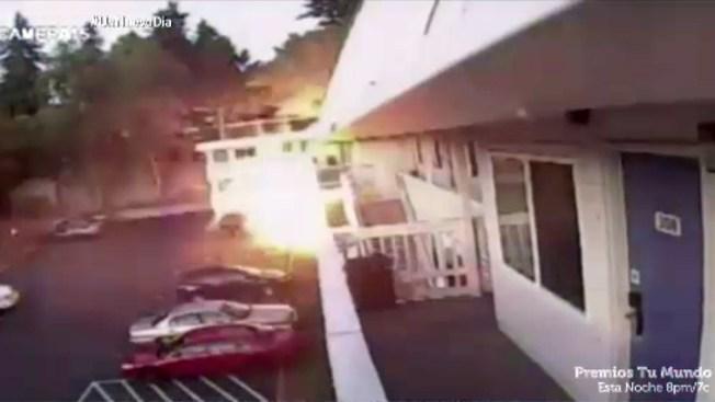Video: captan momento de explosión en un motel